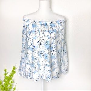 Sanctuary off shoulder blue floral blouse small